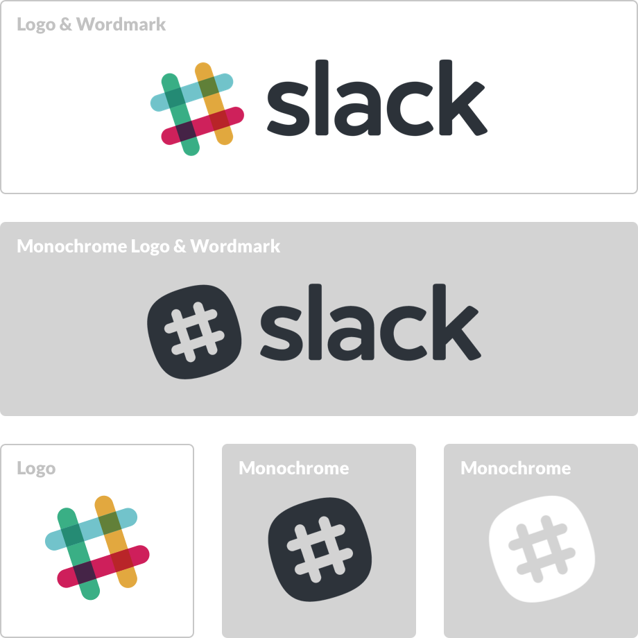 The colored version of Slack logo & wordmark on a white background and the monochrome versions on a grey background.