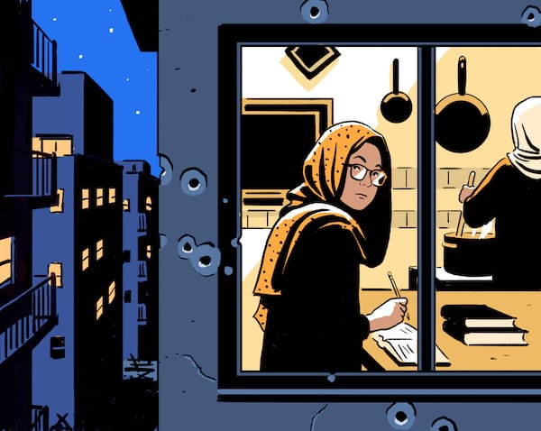 An illustration of a woman in a hijab looking out of a city window.