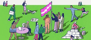 An illustration of a group of people raising a flag on a pole.