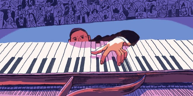 A fallen pianist on stage climbs to play with one hand.