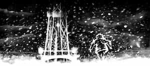 An illustration of a hooded figure walking towards a tower on a snowy night.