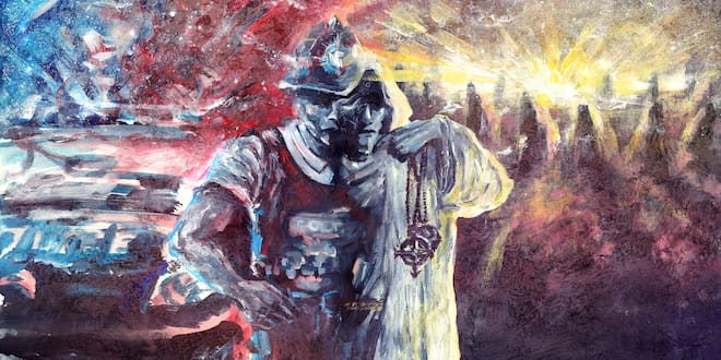 A painting of a cop/druid figure with a cop car one side and stone circle on the other