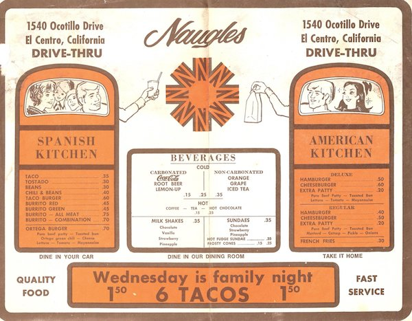 A menu featuring a 'Spanish Kitchen' and 'American Kitchen' menu. There's a special for 6 tacos for $1.50 on Wednesdays.