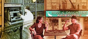 Joel Russ behind the register in the early days of Russ & Daughters; Niki Russ Federman and Josh Russ Tupper; the retail storefront, still in its original location, on Manhattan's Lower East Side.