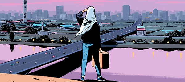 A woman in a hijab looks out at a city with a suitcase in hand.