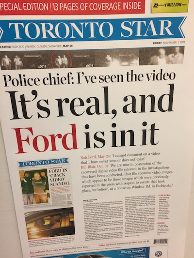 Newspaper with headline: 'Police chief: I've seen the video, It's real, and Ford is in it.'