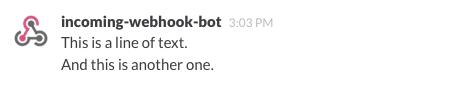 Screenshot of a simple incoming webhook
