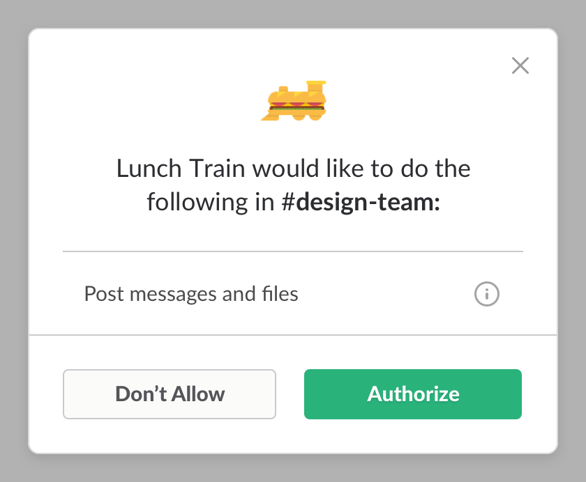 Lunch Train asking for upgraded posting permissions
