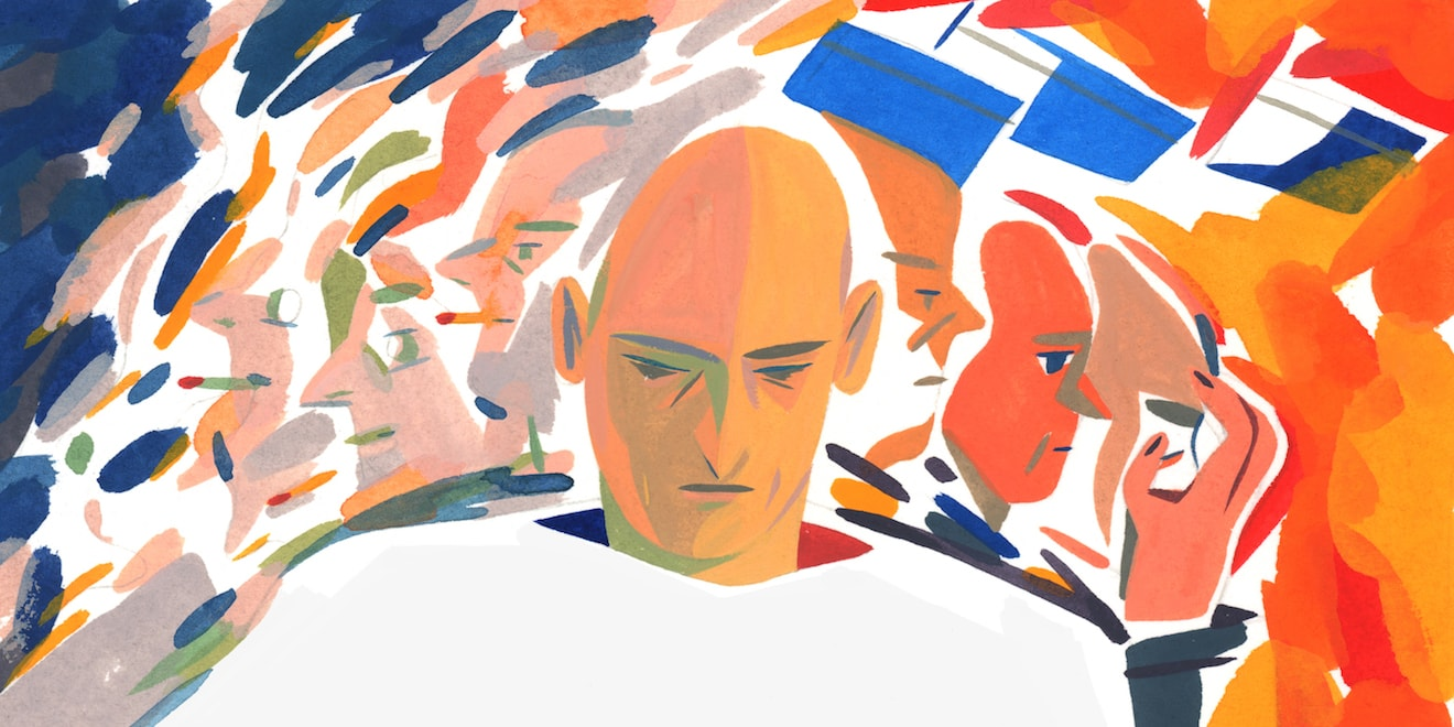 An illustration of a pensive man with a range of emotions behind him.